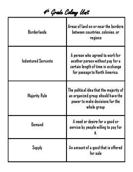 Thirteen Colonies Vocab Cards