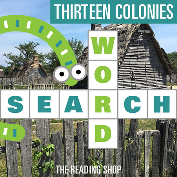 Thirteen Colonies Word Search - Primary Grades - Wordsearch Puzzle