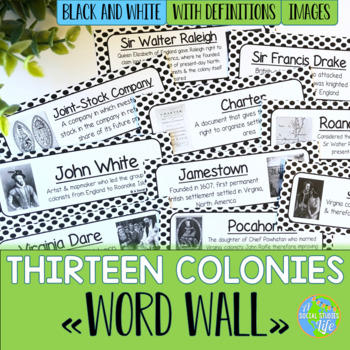 Thirteen Colonies Word Wall - Black and White Polka Dots