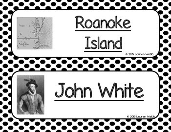 Thirteen Colonies Word Wall without definitions - Black and White Polka Dots