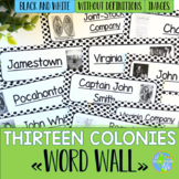 Thirteen Colonies Word Wall without definitions - Black and White