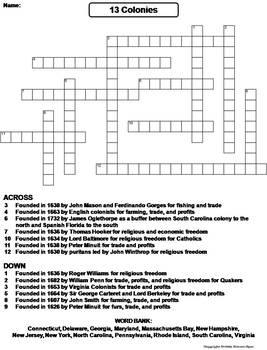 Thirteen Colonies Worksheet/ Crossword Puzzle