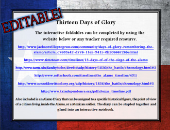 Thirteen Days of Glory Alamo Interactive Notebook Activity