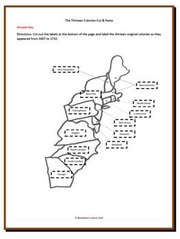 Original Thirteen Colonies Cut & Paste