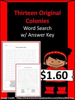 Original Thirteen Colonies Word Search w/ Answer Key