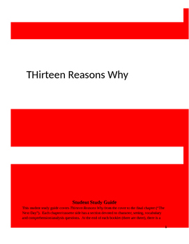 Thirteen Reasons Why Student Study Guide