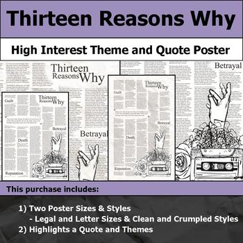 Thirteen Reasons Why - Visual Theme and Quote Poster for Bulletin Boards