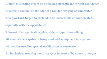 Thirteen Reasons Why Vocabulary (Cassette 1: Side A)