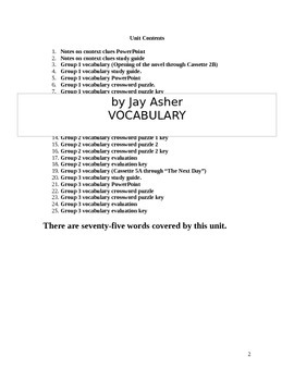 Thirteen Reasons Why by Jay Asher Vocabulary through Context