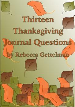 Thirteen Thanksgiving Journal Questions/Journal Prompts