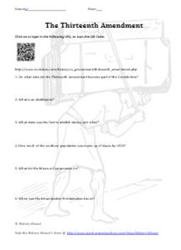 Thirteenth Amendment Internet Worksheet