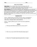 Thirteenth Amendment Primary Source Worksheet