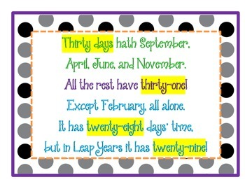photo relating to Thirty Days Hath September Poem Printable known as 30 Times Hath September Poem (Polka Dots)