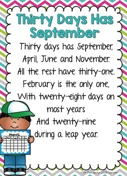 Days in the Month Poem by Miss Jacobs' Little Learners | TpT