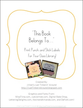 This Book Belongs To... Labels for Your Classroom Library!