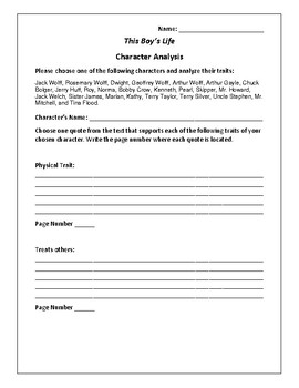 This Boy's Life Character Analysis Activity - Tobias Wolff