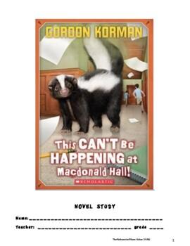 This Can't Be Happening at Mcdonald Hall! Novel Study