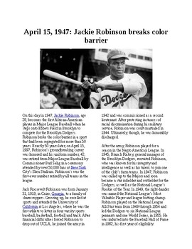 This Day in History - April 15: Jackie Robinson Debuts with Dodgers (no prep/sub