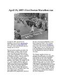 This Day in History - April 19: The first Boston Marathon (no prep/sub plan)