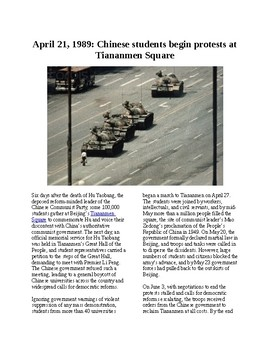 This Day in History - April 21: Students march on Tiananmen Square (no prep)