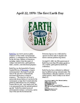 This Day in History - April 22: The first Earth Day (no prep/sub plans)