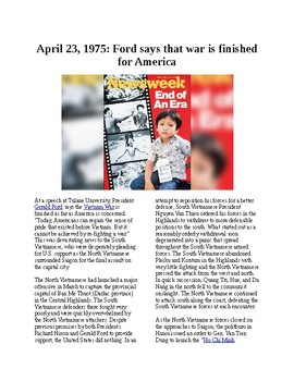 This Day in History - April 23: Ford: US is done in Vietnam (no prep/sub plans)