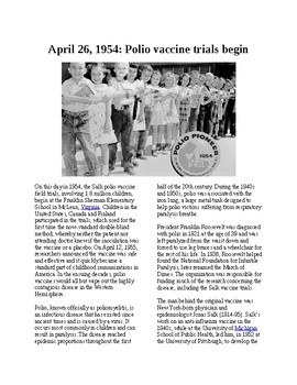 This Day in History - April 26: Polio vaccine trials start (no prep/sub plans)