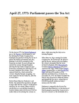This Day in History - April 27: The Tea Act is passed (no prep/sub plans)