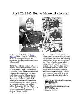 This Day in History - April 28: Mussolini is executed (no prep/sub plans)