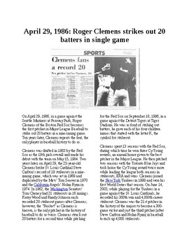 This Day in History - April 29: Clemens strikes out 20 (no prep/sub plans)