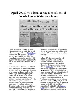 This Day in History - April 29: Nixon releases Watergate tapes (no prep/sub)