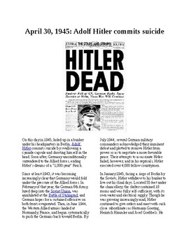This Day in History - April 30: Hitler commits suicide (no prep/sub plans)