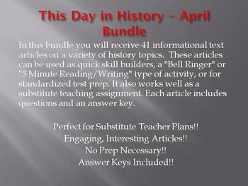 This Day in History - April Bundle: SAVE $40!!! (no prep/sub plans)