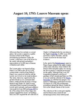 This Day in History - August 10: The Louvre Museum opens (no prep/sub plans)