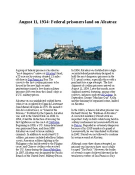 This Day in History - August 11: Alcatraz Opens (no prep/sub plans)