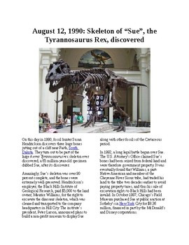 This Day in History - August 12: Sue the T-Rex is discovered (no prep/sub plans)