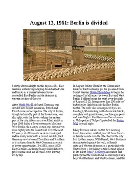 This Day in History - August 13: Berlin is divided (no prep/sub plans)