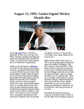 This Day in History - August 13: Yankee legend Mickey Mantle dies (no prep)