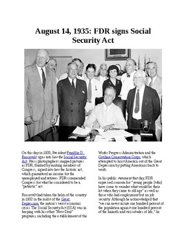 This Day in History - August 14: FDR signs the Social Security Act (no prep)