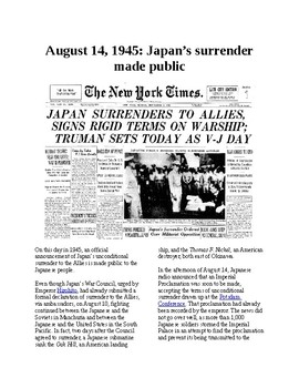 This Day in History - August 14: Japan's surrender made public in Japan (WWII)
