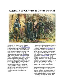This Day in History - August 18: Roanoke Colony desterted (no prep/sub plans)