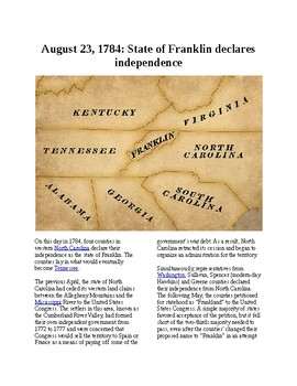 This Day in History - August 23: State of Franklin declares independence