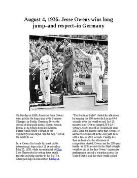 This Day in History - August 4: Jesse Owens wins Gold in Germany (no prep)