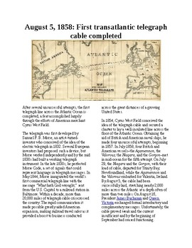 This Day in History - August 5: First Transatlantic Cable (no prep/sub plans)