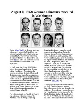 This Day in History - August 8: German saboteurs executed in Washington