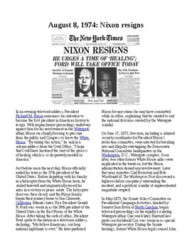 This Day in History - August 8: Nixon resigns as President (no prep/sub plans)