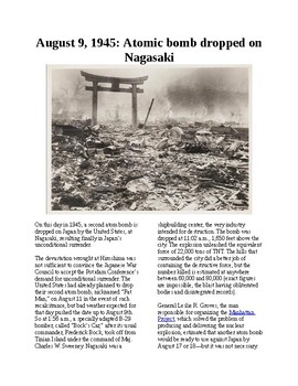 This Day in History - August 9: Atomic bomb dropped on Nagasaki (no prep/sub)