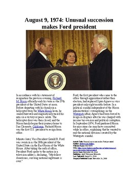 This Day in History - August 9: Ford becomes President of the USA (no prep/sub)