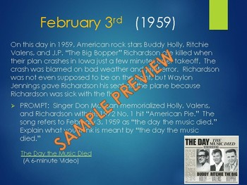 This Day in History Daily Bell Ringers with Video Links:  February