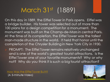This Day in History Daily Bell Ringers with Video Links:  March